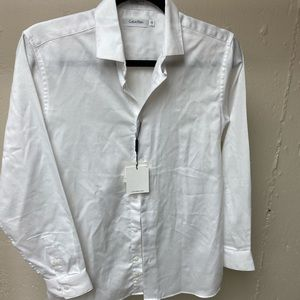 Calvin Klein boys white dress button down shirt